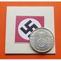DITTRES REICH GERMANY 2 REICHSMARK 1939 D SWASTIKA NAZI SILVER U