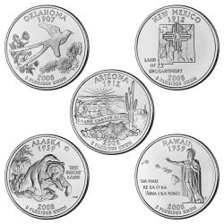 USA 1/4 DOLAR 2008 SET 5 monedas US QUARTER DOLLAR