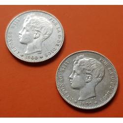 2 monedas x 1 PESETA 1899 * 18 99 + 1 PESETA 1900 * 19 00 REY ALFONSO XIII España SGV KM.706 PLATA MBC++ Spain silver