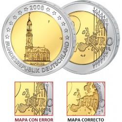 @ERROR MAPA ANTIGUO@ ALEMANIA 2 EUROS 2008 Letra F IGLESIA EN HAMBURGO SC MONEDA BIMETALICA CONMEMORATIVA Germany euro coin