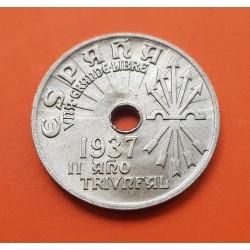ESPAÑA 25 CENTIMOS 1937 II AÑO TRIUNFAL NICKEL SC-ALUMINIO