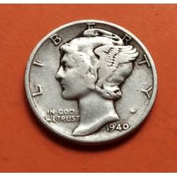 USA 10 CENTS DIME 1940 D MERCURY SILVER VF+