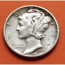USA 10 CENTS DIME 1943 D MERCURY SILVER UNC-