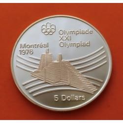 . CANADA 5 DOLARES 1973 OLIMPIADA MONTREAL MAPA PLATA SC