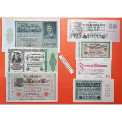 ..ALEMANIA WEIMAR 1923 Lote 6 billetes 20 y 100 MILLONES MARCOS
