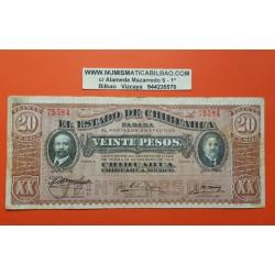 1 billete x MEXICO 20 PESOS 1914 Estado de CHIHUAHUA REVOLUCION Pick S537 BILLETE MBC- Mejico banknote