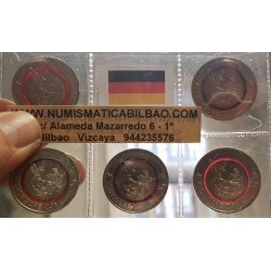 ALEMANIA 5 EUROS 2017 A+D+F+G+J CLIMA TROPICAL ARO CENTRAL EN PLASTICO/NIOBIO Color ROJO SC 5 MONEDAS DE NICKEL