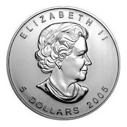 CANADA 5 DOLARES 2005 HOJA DE ARCE PLATA PURA SC SILVER DOLLAR