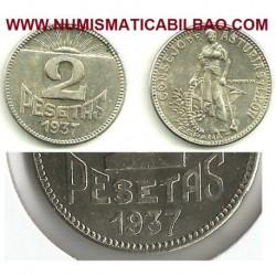 . ASTURIAS y LEON 2 PESETAS 1937 SIN CIRCULAR VARIANTE 7 LARGO