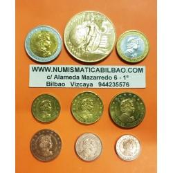 9 monedas x INGLATERRA MONEDAS EURO PRUEBA 2002 incluye 5 EUROS ESSAI PROBE PATTERN United Kingdom Great Britain