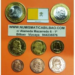 8 monedas x VATICANO MONEDAS EURO PRUEBA 2000 ESSAI PROBE PATTERN Vatican City PAPA JUAN PABLO II