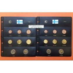 2 series x FINLANDIA MONEDAS EURO 1999 + 2000 SC : 1+2+5+10+20+50 Centimos + 1 EURO + 2 EUROS TIRA Finnland + + HOJAS DE PARDO