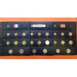 3 series x FRANCIA MONEDAS EURO 1999 + 2000 + 2001 SC 1+2+5+10+20+50 Centimos + 1 EURO + 2 EUROS Tira + HOJAS DE PARDO