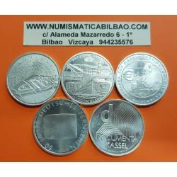 5 monedas x ALEMANIA 10 EUROS 2002 Cecas A + D + F + G + J PLATA SC Germany BRD euro coins