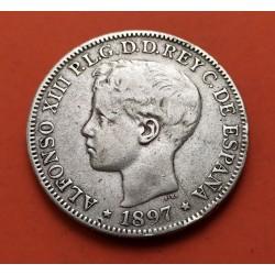 ALFONSO XIII 5 PESETAS 1897 SGV PLATA ISLAS FILIPINAS ESPAÑA EBC