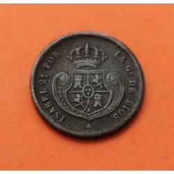 @RARA@ ESPAÑA Reina ISABEL II 1/2 DECIMA DE REAL 1853 Ceca de SEGOVIA KM.15 MONEDA DE COBRE MBC Spain Media Décima