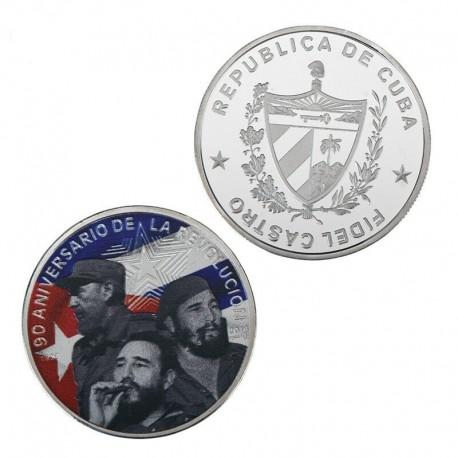 CUBA 10 PESOS 1999 MAPA Y BANDERAS PLATA KM*676 PROOF