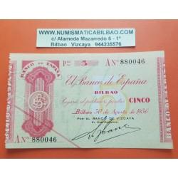 . BILBAO 5 PESETAS 1936 Serie A BANCO de VIZCAYA @LUJO@ EUSKADI