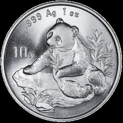 CHINA 10 YUAN 1998 OSO PANDA PLATA SILVER Small Date