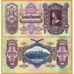 HUNGRIA 100 PENGO 1930 FORTALEZA SOBRE EL RIO Serie E776 Pick 98 BILLETE SC Hungary Szaz Pengo