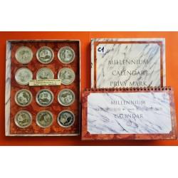 12 monedas x AUSTRALIA 1 DOLAR 2000 KOOKABURRA MILLENIUM CALENDAR PRIVY MARK SERIES SET PLATA PURA $1 Dollar Coin ONZA OZ