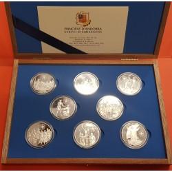 8 monedas x ANDORRA 10 DINERS 1999 ANNO JUBILEO 2000 JUBILAEUM PLATA PROOF ESTUCHE CERTIFICADO