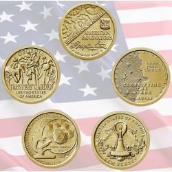 5 monedas x ESTADOS UNIDOS 1 DOLAR 2018 P + 2019 P Serie AMERICAN INNOVATION LATON SC USA 1 Dollar 5 coin set