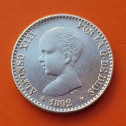 @LUJO@ ESPAÑA Rey ALFONSO XIII 50 CENTIMOS 1892 * 9 2 PGM Tipo PELON KM.690 MONEDA DE PLATA SC+ Spain silver