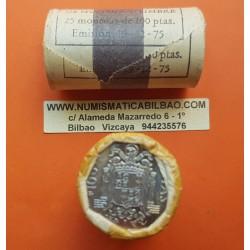 25 monedas x ESPAÑA 100 PESETAS 1975 * 19 76 CARTUCHO ORIGINAL FNMT JUAN CARLOS I NICKEL SC