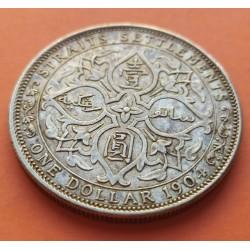 ESTRECHOS MALAYOS 1 DOLAR 1904 EDUARDO VII BRITISH STRAITS SETTLEMENTS KM.26 MONEDA DE PLATA MBC+/EBC- Malaysia silver dollar