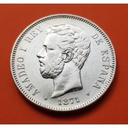 ESPAÑA 5 PESETAS 1871 * 18 71 SDM REY AMADEO I DE SABOYA y ESCUDO KM.666 MONEDA DE PLATA (DURO) Spain silver Ref 3