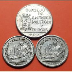 3 monedas x SANTANDER PALENCIA y BURGOS 50 CENTIMOS 1937 NORMAL + PR + 1 PESETA 1937 NICKEL MBC+ España