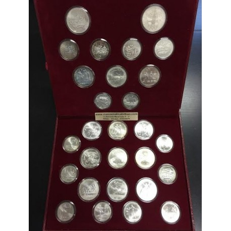 . 1980 USSR RUSSIA Moscow Olympic Silver Ruble 28 Coin Set RUSIA