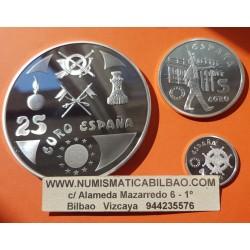 . 1 EURO + 5 + 25 EUROS 1998 HOMENAJE AL EJERCITO ESPAÑA PLATA S