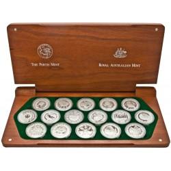 16 monedas x AUSTRALIA 5 DOLARES 1999 + 2000 JUEGOS OLIMPICOS DE SIDNEY PLATA PROOF 1 ONZA OZ ESTUCHE OFICIAL