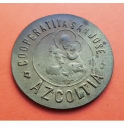 AZCOITIA 1 PESETA 1915 CASTILLO FICHA COOPERATIVA GUIPUZKOA