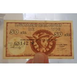 ESPAÑA 50 CENTIMOS 1937 REPUBLICA ESPAÑOLA Serie C MBC+ RARA
