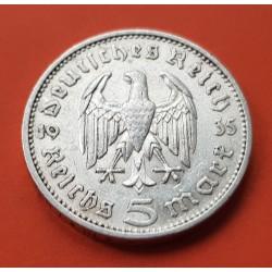 GERMANY 5 REICHSMARK 1935 F HINDENBURG SILVER NAZI WWII 2