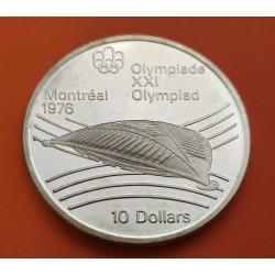 . CANADA 10 DOLARES 1973 OLIMPIADA MONTREAL SKYLINE PLATA SC-