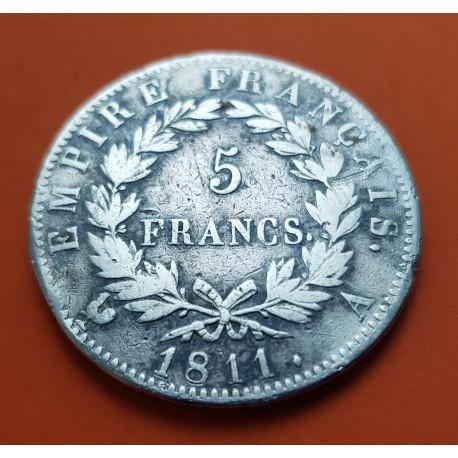 .FRANCIA 5 FRANCOS 1810 B NAPOLEON I PLATA MBC @@RARA@@