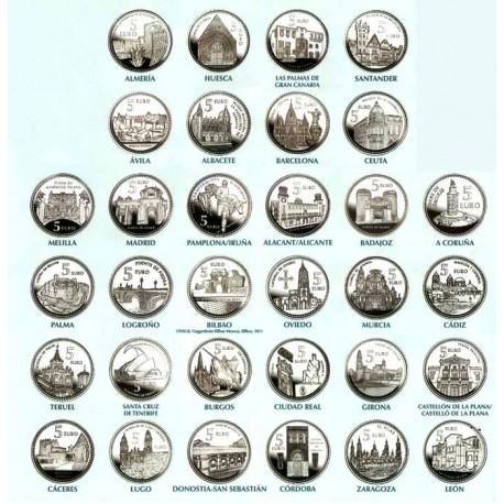 ..ESPAÑA 5 EUROS 2010+2011+2012 PLATA CIUDADES 52 monedas