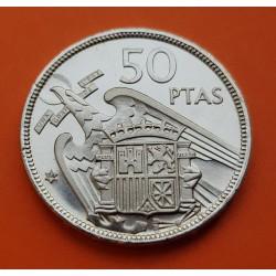 ESPAÑA 50 PESETAS 1957 * 74 FRANCO PROOF PRUEBA CARTERA FNMT