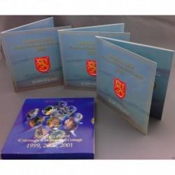FINLANDIA CARTERA OFICIAL EUROS 1999 + 2000 + 2001 BU SET 1+2+5+10+20+50 CENTIMOS 1 EURO + 2 EUROS SC 24 monedas