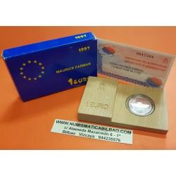 ESPAÑA 1 EURO 1997 EMBLEMA DEL EJERCITO DEL AIRE PLATA PROOF ESTUCHE MONEDA CONMEMORATIVA DE LA FNMT ECU