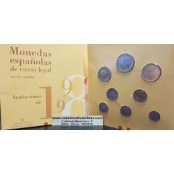 ESPAÑA 1998 CARTERA FNMT SERIE 1+5+10+25+50+100+200+500 PESETAS 1998 SC JUAN CARLOS I