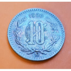 @RARA@ MEXICO 10 CENTAVOS 1920 AGUILA y SERPIENTE modulo Grande KM.430 MONEDA DE COBRE MBC+ República Mexicana