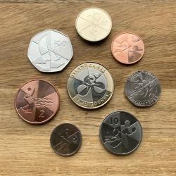 8 monedas x GIBRALTAR 1+2+5+10+20+50 Peniques + 1 Libra 2019 + 2 Libras 2019 BIMETALICA ISLANDS GAMES SC