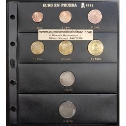 ESPAÑA 1998 SERIE DE EUROS EN PRUEBA CHURRIANA 1 Cts/2€ EBC Nº1