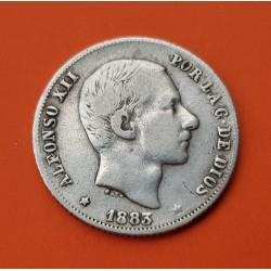 ESPAÑA Rey ALFONSO XII 20 CENTAVOS DE PESO 1883 ISLAS FILIPINAS KM.149 MONEDA DE PLATA MBC- Spain colonial coin