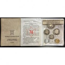 ESPAÑA CARTERA FNMT 1976 PROOF 0,50+1+5+25+50+100 PESETAS 1975 * 76 PRUEBAS NUMISMATICAS